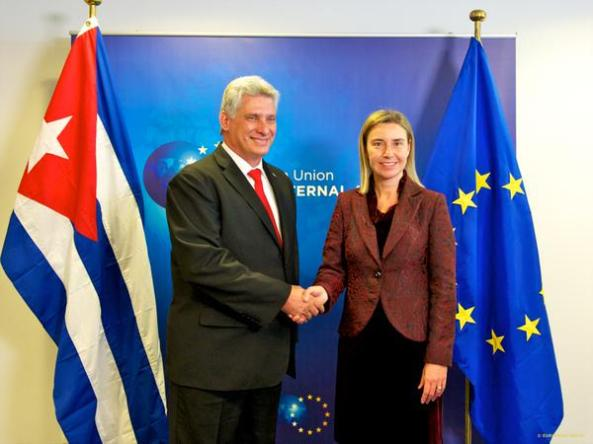 Díaz Canel y Federica Mogherini
